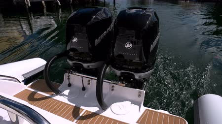 inner : Powerful outboard engines on a RIB navigating slowly