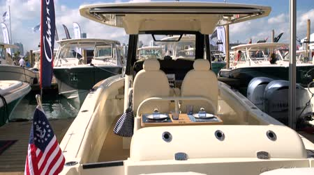mariner : Luxury classic boat docked during the Miami International Boat Show
