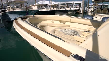 mariner : Bow of a luxury classic boat docked during the Miami International Boat Show
