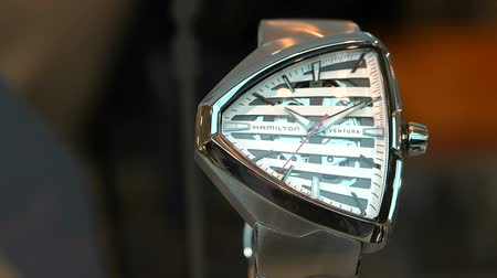 Швейцария : Futuristic Hamilton Ventura watch exhibited at Baselworld watches and jewelry show in Basel, Switzerland. Стоковые видеозаписи