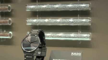 Rado real thinline watch exhibited at Rado booth at Baselworld watches and jewelry show in Basel, Switzerland.