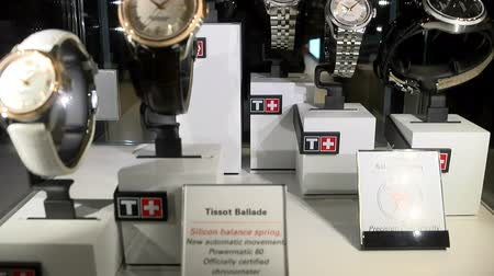 New models of watches exhibited at the Tissot booth at Baselworld watches and jewelry show in Basel, Switzerland. Wideo