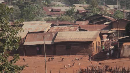 Typical mud houses with metal roof found in rural part of Ethiopia, Africa