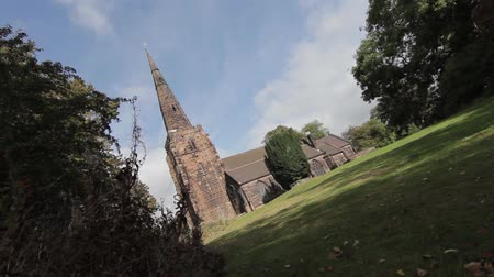 churchyard : Church and Gravestones in Old Church Yard Stock Footage