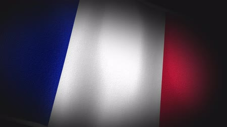três quarto comprimento : 4K 3D Animation of French France Flag Closeup Canvas Texture