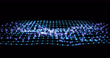 motion design : blue connection wireframe structure with particles animation. abstract technology, data motion background. abstract motion background with blue lines.