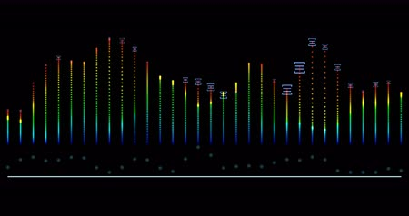 sound wave audio equalizer. digital multi-colored music equalizer on black background. 影像素材
