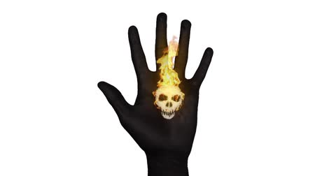 kötülük : Skull on painted hand opens up and ignites with fire. A metaphor for many things, death, war, toxic, evil, danger, etc.
