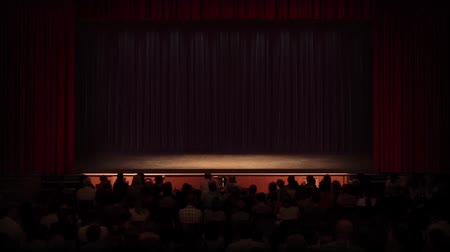 stage theater : Crowd talking then going quiet, then applauding as the curtain rises. Empty stage ready to add your own elements to! Stock Footage