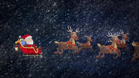 santa : Santa looks at camera and waves before taking the reigns of his sleigh. The shot zooms out to reveal the traditional eight reindeer flying through the snowy night sky before they all fly out of the shot, followed by a 'Merry Christmas' title with snow fla