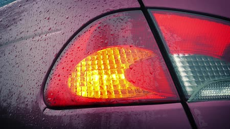 otopark : Rear light on car flashes as it rains Stok Video