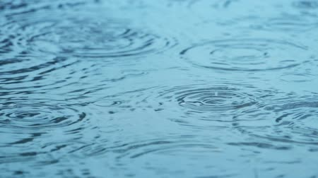 пруд : Closeup of rain splashing and rippling on water