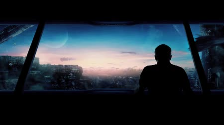 spojrzenie : Futuristic City With Man Looking Out Wideo