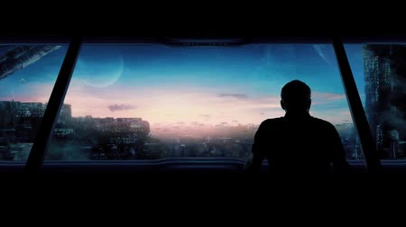 sciencefiction : Futuristische Stad Met Man Out Looking