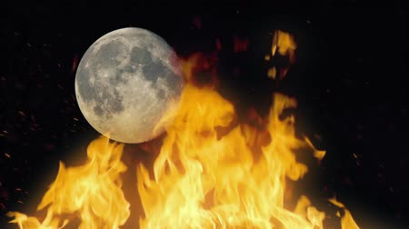 wróżba : Fire With Moon In Background