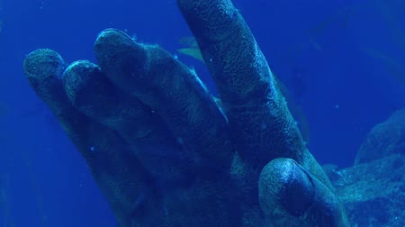 kamień : Ancient Hand Statue In The Ocean Wideo