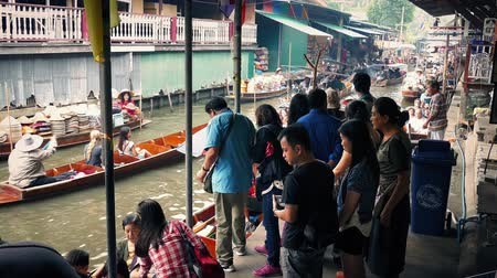 local : People Waiting To Board River Boats In Thai Market