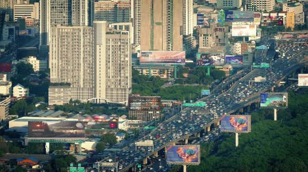 congested : Highway In City With Billboards And Video Screens