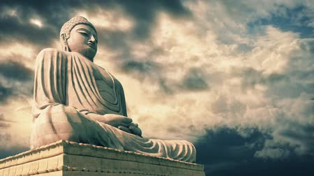 budist : Buddha Statue With Epic Sky Timelapse