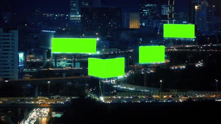 billboards : City Landscape With Roads And Greenscreen Billboards
