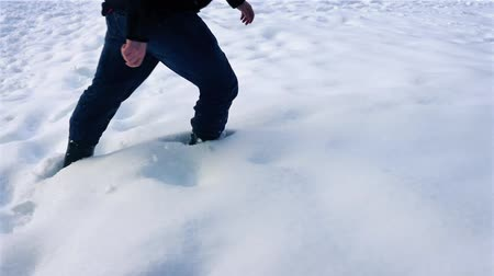 deep snow : Person Walks Through Thick Snow