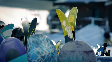 esqui : Skis And Boards At Resort Stock Footage