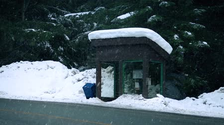 snows : Snow Falls On Bus Shelter In Rural Area