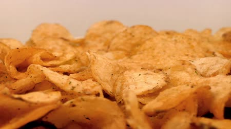 chunky : Potato Chips Rotating On Plate