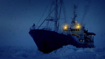 noordpool : Man On Ice Breaker Schip In Sneeuwstorm Stockvideo
