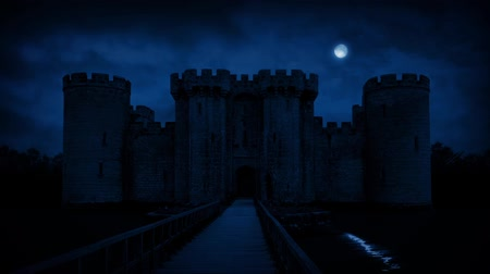 zamek : Large Castle With Moat In Moonlight Wideo