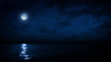 lake sea : Full Moon Reflecting On Sea At Night