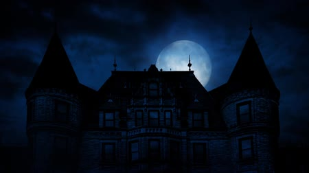night : Large Moon Rises Behind Scary Mansion