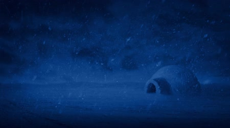 igloo : Igloo At Night In Snowstorm Stock Footage