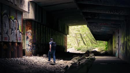 andarilho : Man Walking Beneath Overpass With Graffiti Vídeos