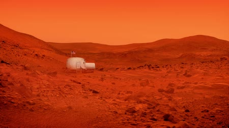 Марс : Space Base On Mars With American Flag Стоковые видеозаписи