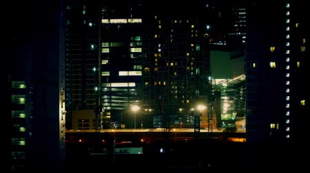 streaking : Timelapse Busy Road In City At Night Stock Footage