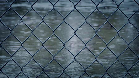 rainy : Wire Fence In Rainfall