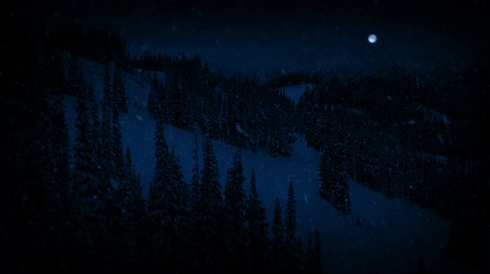 snows : Passing Mountains In Snowfall At Night With Full Moon