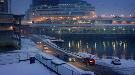 snows : City Harborside Scene With Snow Falling In The Evening Stock Footage