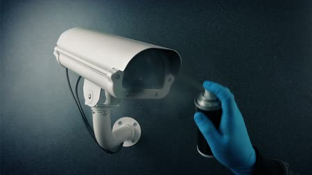 rioting : CCTV Camera Spray Painted - Bank Robbery, Vandalism, Privacy Concept