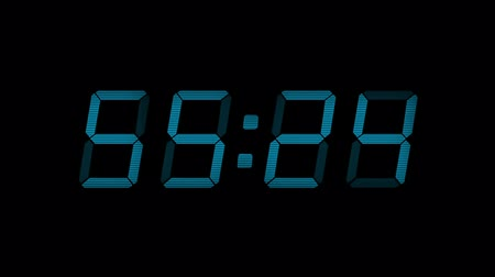 teatral : 60 Second Blue Digital Countdown Display Stock Footage