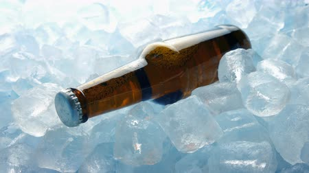 ice cube : Beer Bottle In Ice Cubes Moving Shot