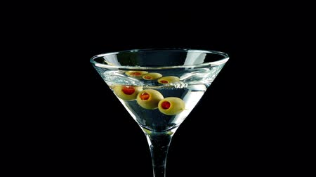 vermouth : Martini Cocktail Poured And Olives Added
