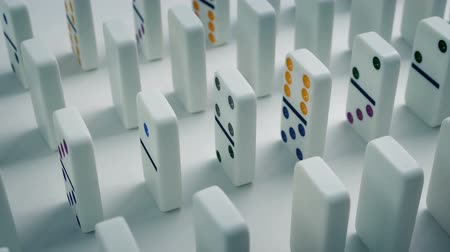 impending : Dominoes Lined Up Moving Shot Stock Footage