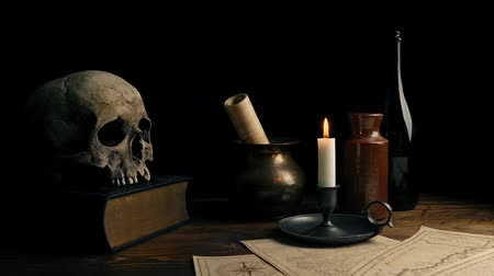 old times : Candle, Skull And Maps On Desk - Historical Setting