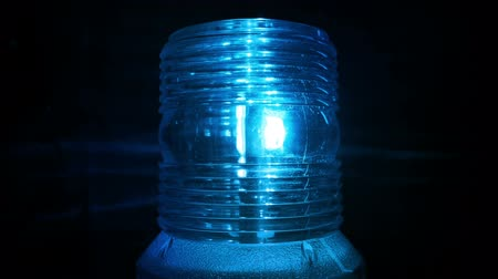 fire facilities : Blue Safety Light Flashing In The Dark