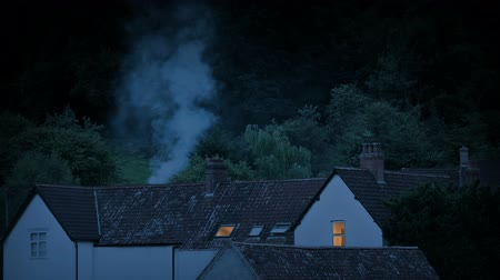 arborizado : Houses In The Evening With Smoke Rising