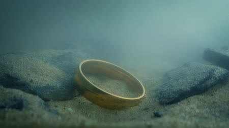 picked up : Gold Ring Drops Onto Rocks Underwater