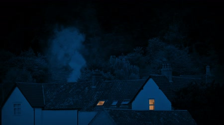 arborizado : Smoke Rising From Houses In The Countryside At Night