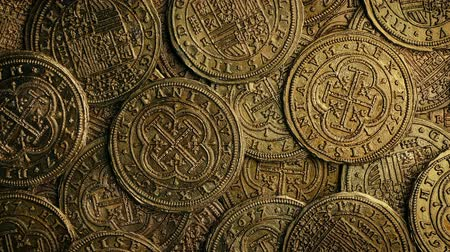doubloon : Old Gold Coins Rotating Closeup